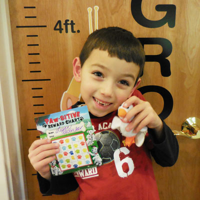 Logan was super excited about completing this Flossing Chart and choosing a prize.